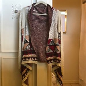 Red and Cream patterned sweater